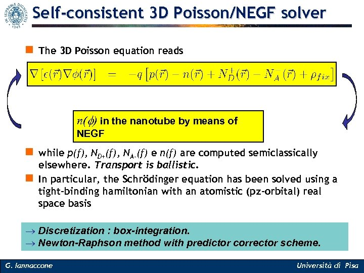 Self-consistent 3 D Poisson/NEGF solver n The 3 D Poisson equation reads n(f) in