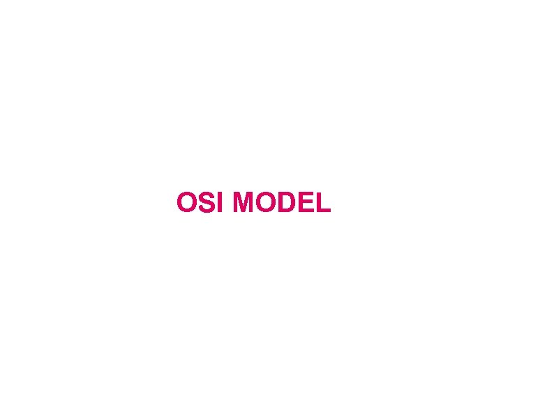 OSI Model OSI MODEL