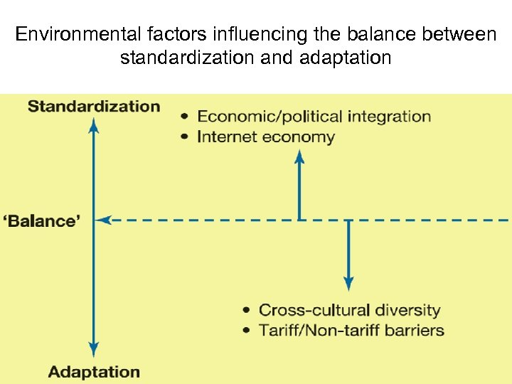 Environmental factors influencing the balance between standardization and adaptation