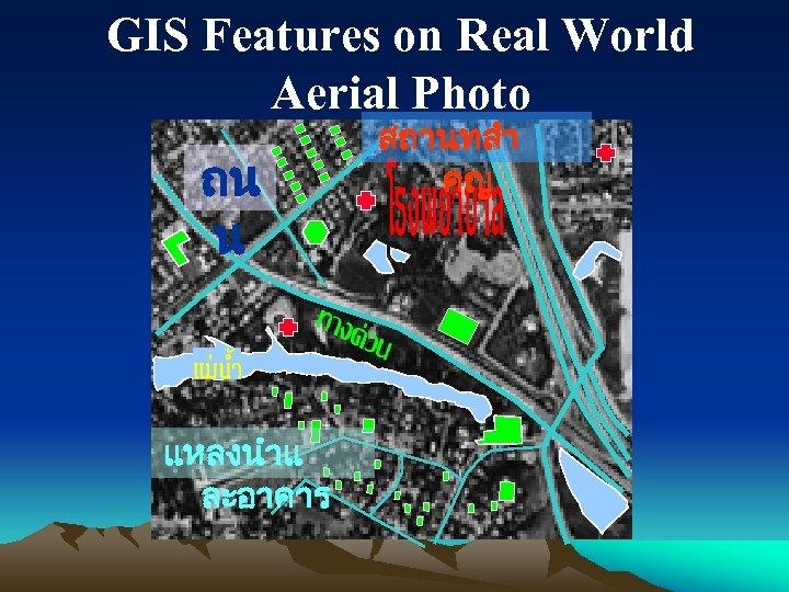 GIS Features on Real World Aerial Photo ถน น แหลงนำแ ละอาคาร สถานทสำ คญ