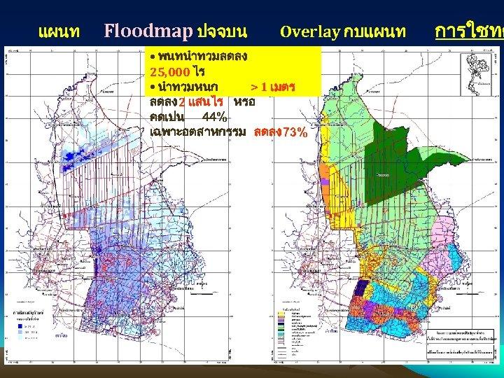 แผนท Floodmap ปจจบน Overlay กบแผนท • พนทนำทวมลดลง 25, 000 ไร • นำทวมหนก > 1