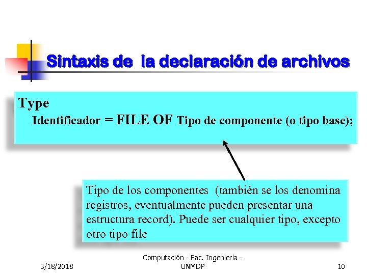 Sintaxis de la declaración de archivos Type Identificador = FILE OF Tipo de componente