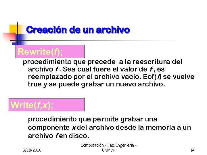 Creación de un archivo Rewrite(f); procedimiento que precede a la reescritura del archivo f.
