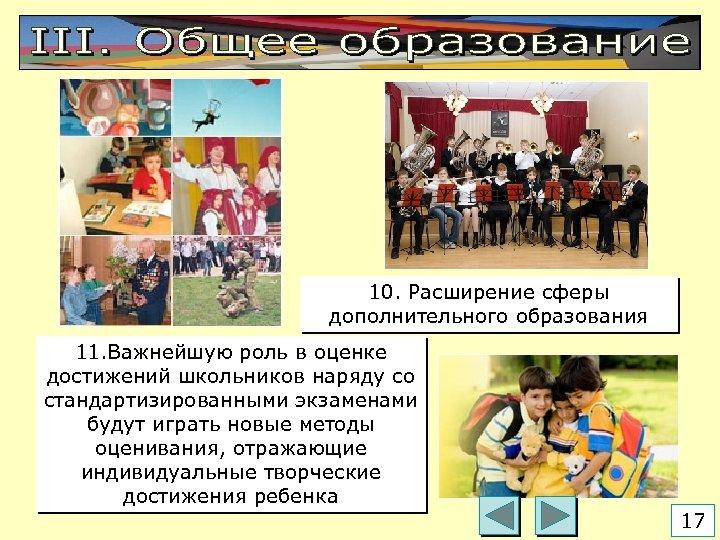 10. Расширение сферы дополнительного образования 11. Важнейшую роль в оценке достижений школьников наряду со