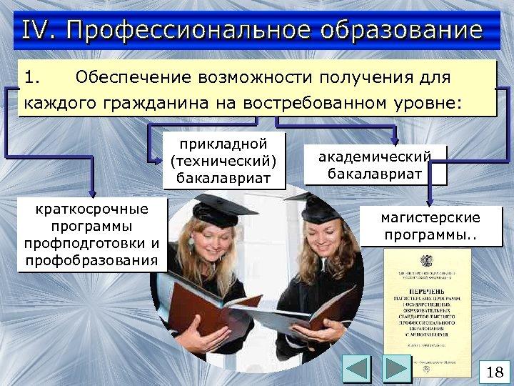 1. Обеспечение возможности получения для каждого гражданина на востребованном уровне: прикладной (технический) бакалавриат краткосрочные