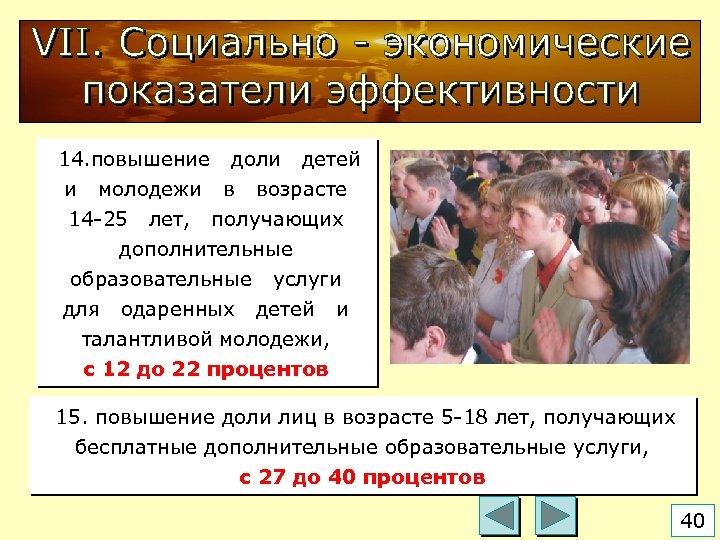 14. повышение доли детей и молодежи в возрасте 14 -25 лет, получающих дополнительные образовательные