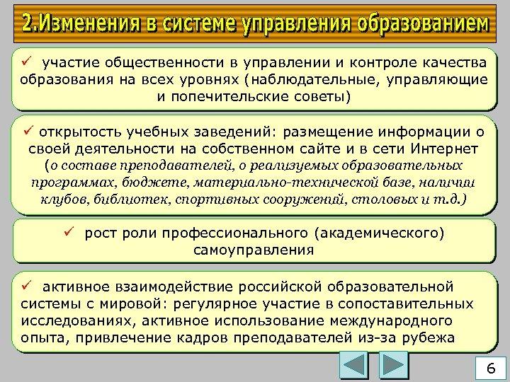 ü участие общественности в управлении и контроле качества образования на всех уровнях (наблюдательные, управляющие