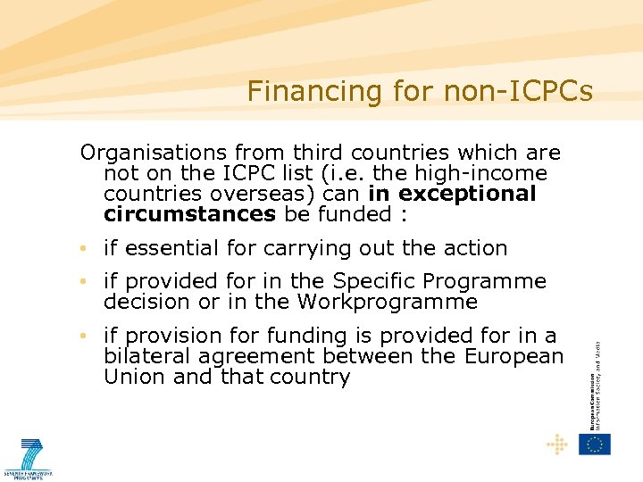 Financing for non-ICPCs Organisations from third countries which are not on the ICPC list