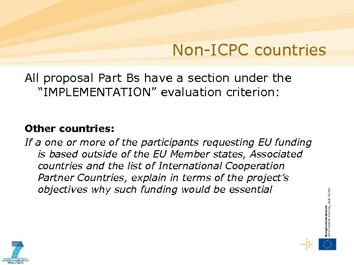 "Non-ICPC countries All proposal Part Bs have a section under the ""IMPLEMENTATION"" evaluation criterion:"