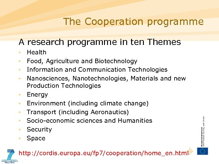 The Cooperation programme A research programme in ten Themes • • • Health Food,