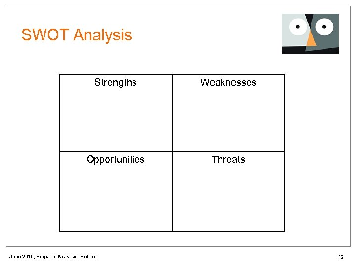 SWOT Analysis Strengths Weaknesses Opportunities Threats June 2010, Empatic, Krakow - Poland 12
