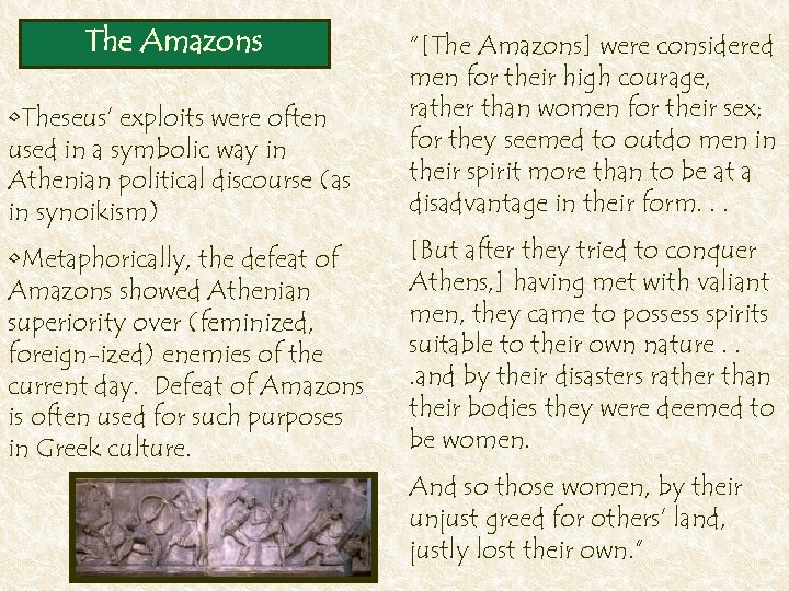 The Amazons • Theseus' exploits were often used in a symbolic way in Athenian