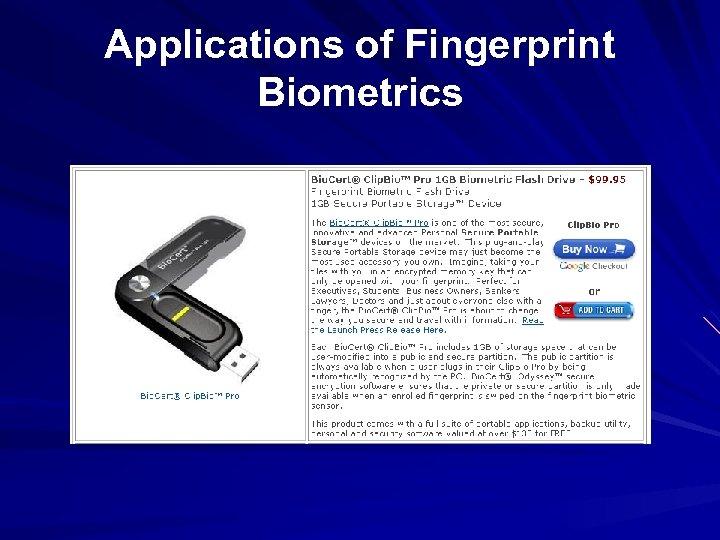 Applications of Fingerprint Biometrics