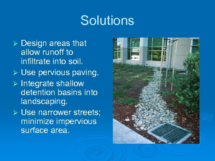 Solutions Design areas that allow runoff to infiltrate into soil. Ø Use pervious paving.