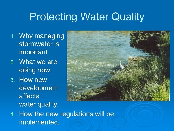 Protecting Water Quality 1. 2. 3. 4. Why managing stormwater is important. What we