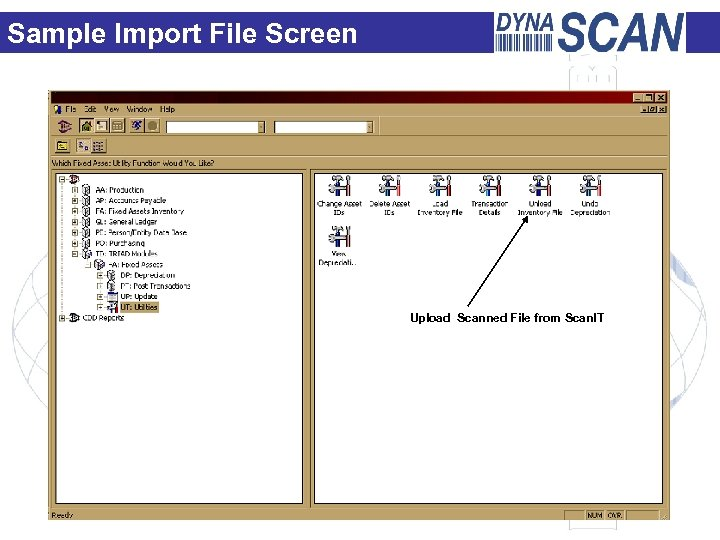 Sample Import File Screen Upload Scanned File from Scan. IT