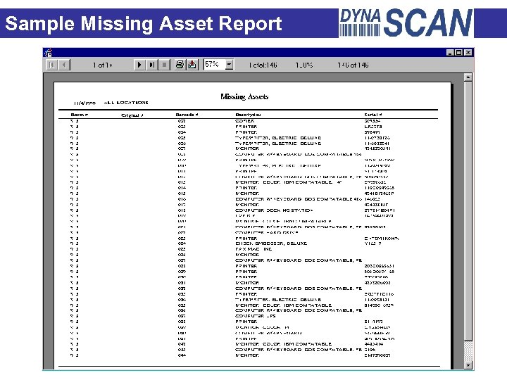 Sample Missing Asset Report