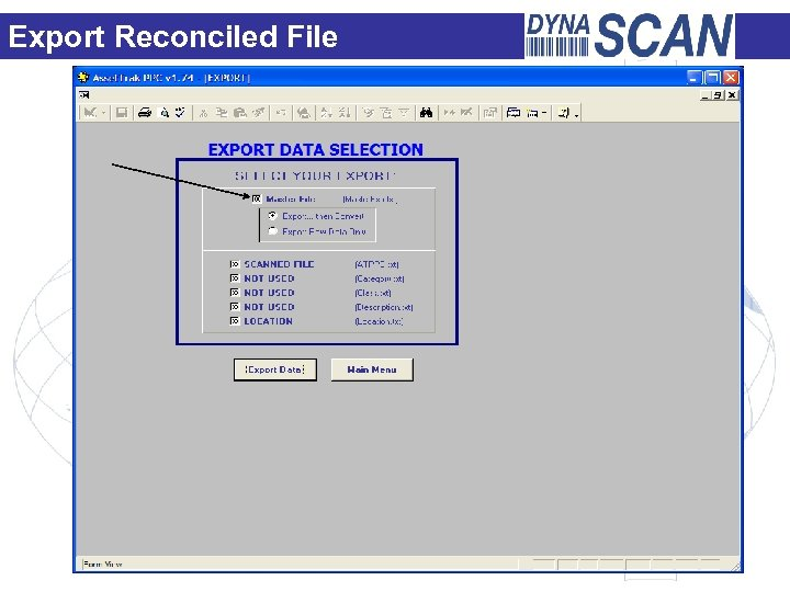 Export Reconciled File Export Reconciled Master File Screen