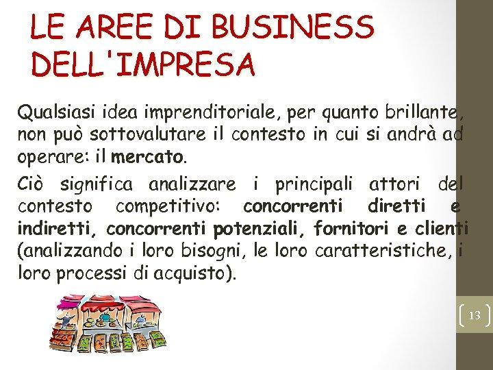 LE AREE DI BUSINESS DELL'IMPRESA Qualsiasi idea imprenditoriale, per quanto brillante, non può sottovalutare