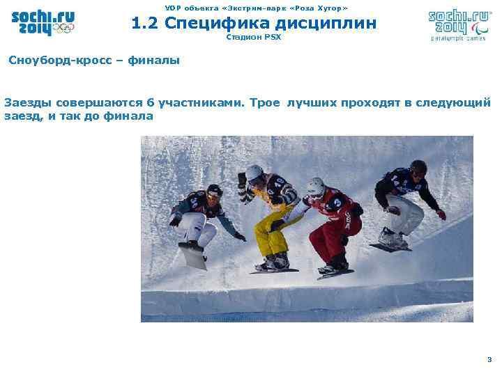 VOP объекта «Экстрим-парк «Роза Хутор» 1. 2 Специфика дисциплин Стадион PSX Сноуборд-кросс – финалы