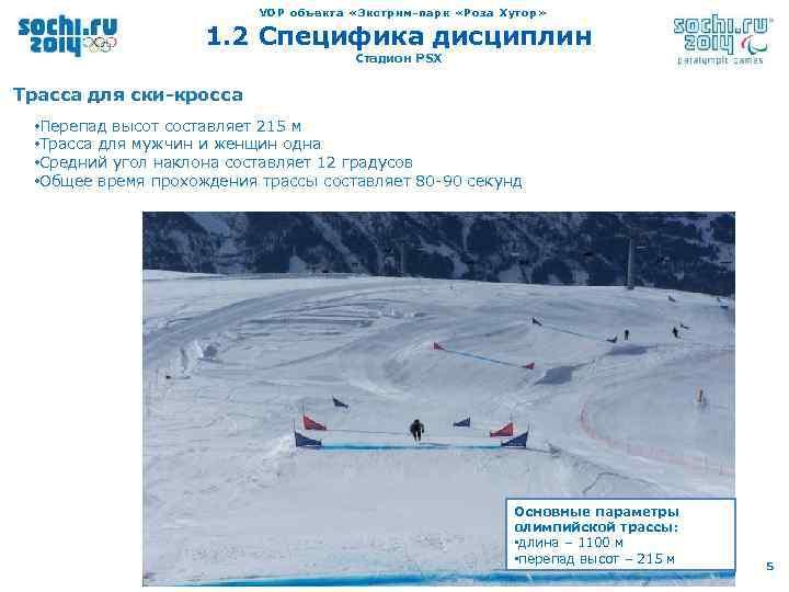 VOP объекта «Экстрим-парк «Роза Хутор» 1. 2 Специфика дисциплин Стадион PSX Трасса для ски-кросса