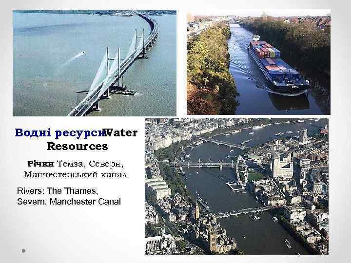 Водні ресурси Water Resources Річки Темза, Северн, : Манчестерський канал Rivers: The Thames, Severn,