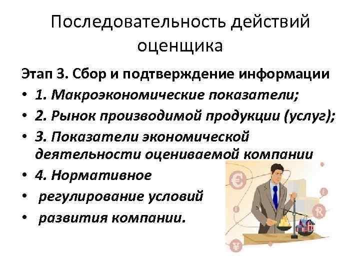 Последовательность действий оценщика Этап 3. Сбор и подтверждение информации • 1. Макроэкономические показатели; •