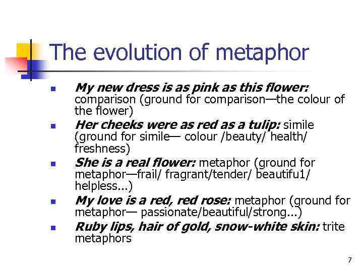 The evolution of metaphor n n n My new dress is as pink as
