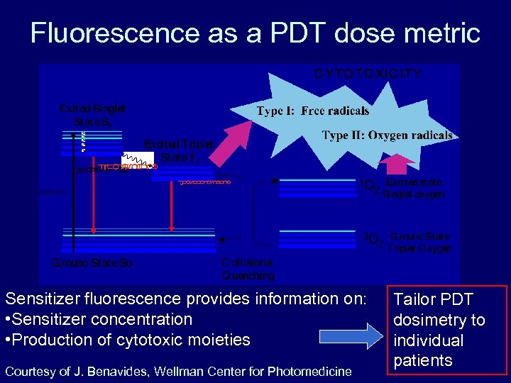 Fluorescence as a PDT dose metric Sensitizer fluorescence provides information on: • Sensitizer concentration