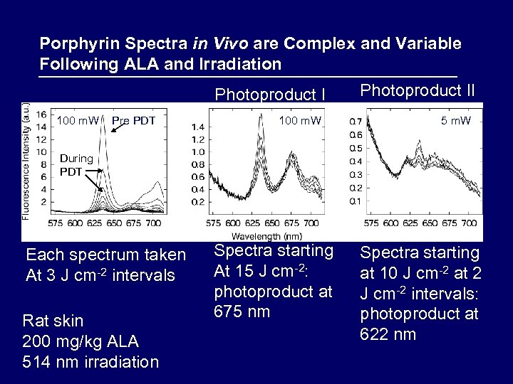 Porphyrin Spectra in Vivo are Complex and Variable Following ALA and Irradiation Photoproduct I