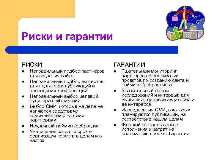 Риски и гарантии РИСКИ l l l Неправильный подбор партнеров для создания сайта Неправильный
