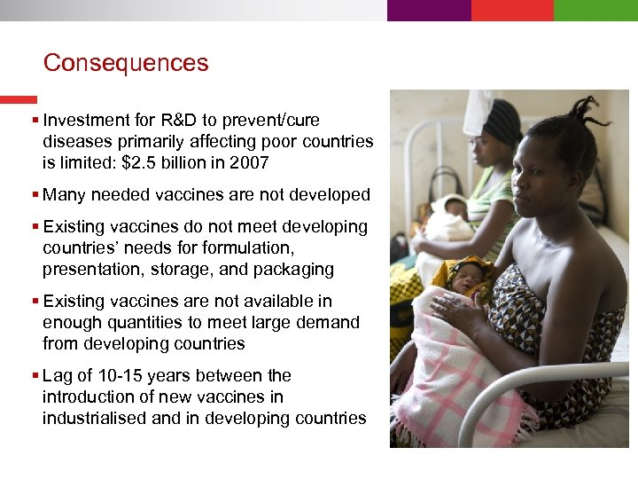 Consequences § Investment for R&D to prevent/cure diseases primarily affecting poor countries is limited: