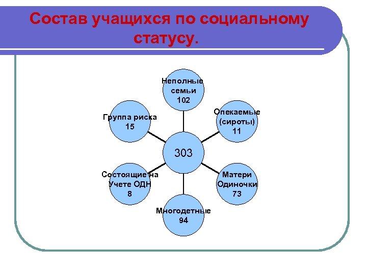 Состав учащихся по социальному статусу. Неполные семьи 102 Опекаемые (сироты) 11 Группа риска