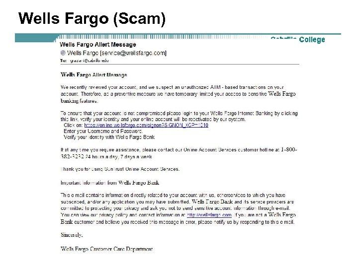 Wells Fargo (Scam)
