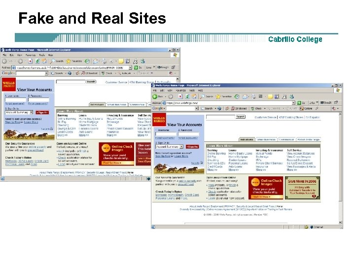 Fake and Real Sites
