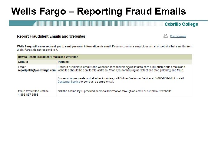 Wells Fargo – Reporting Fraud Emails