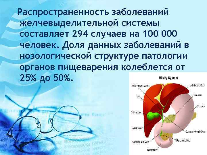 Распространенность заболеваний желчевыделительной системы составляет 294 случаев на 100 000 человек. Доля данных заболеваний