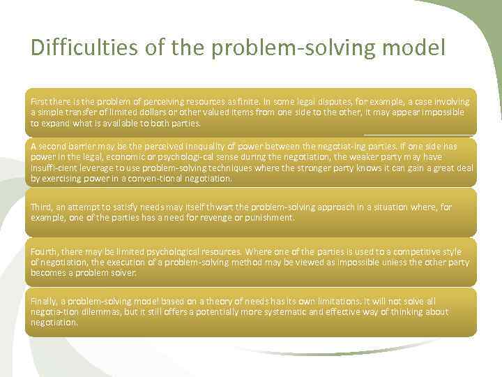 Difficulties of the problem solving model First there is the problem of perceiving resources