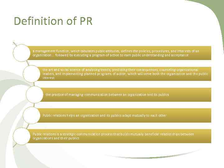 Definition of PR a management function, which tabulates public attitudes, defines the policies, procedures,