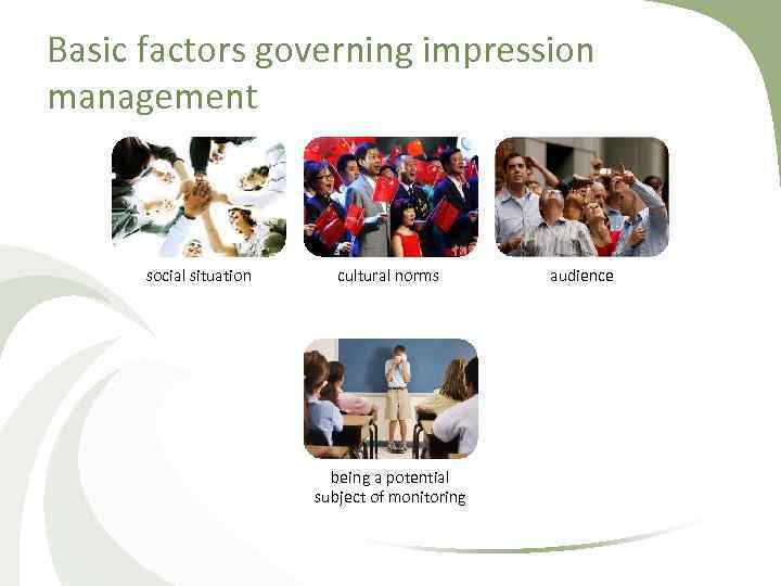 Basic factors governing impression management social situation cultural norms being a potential subject of