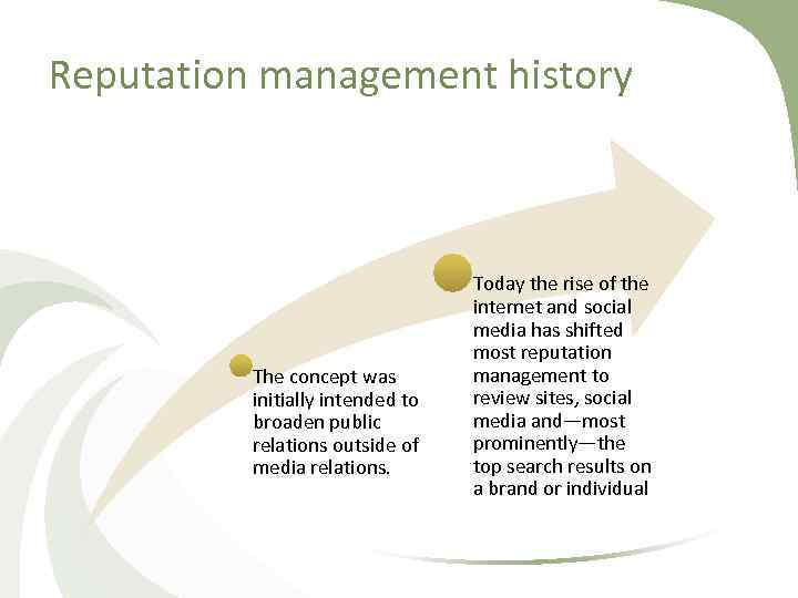 Reputation management history The concept was initially intended to broaden public relations outside of