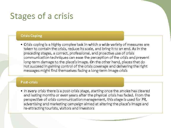 Stages of a crisis Coping • Crisis coping is a highly complex task in