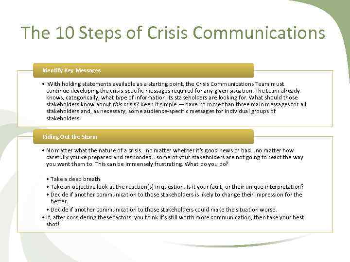The 10 Steps of Crisis Communications Identify Key Messages • With holding statements available