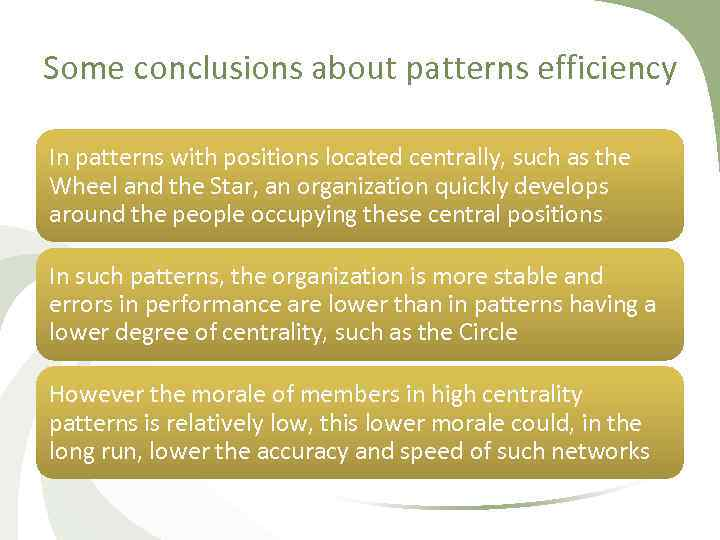 Some conclusions about patterns efficiency In patterns with positions located centrally, such as the