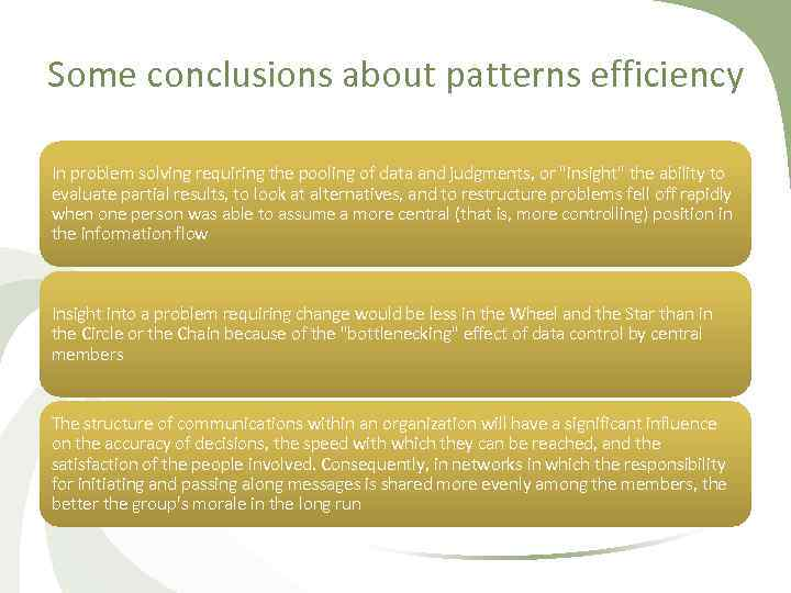 Some conclusions about patterns efficiency In problem solving requiring the pooling of data and