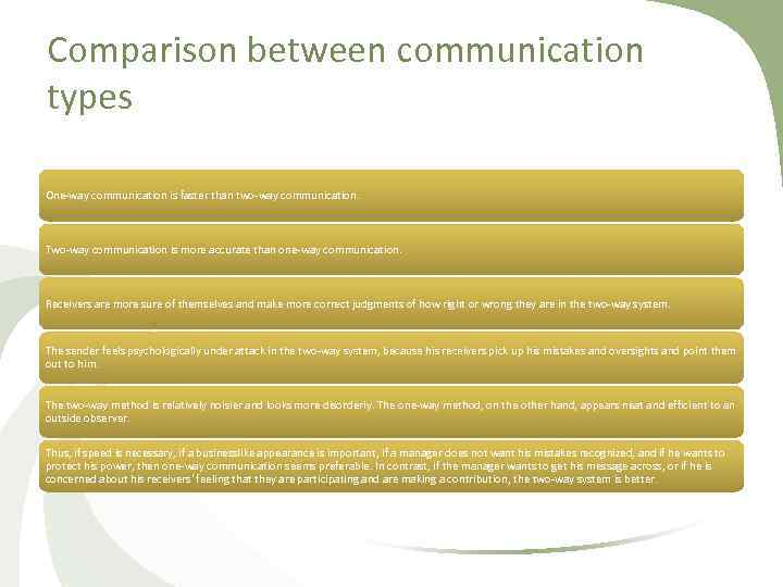 Comparison between communication types One way communication is faster than two way communication. Two