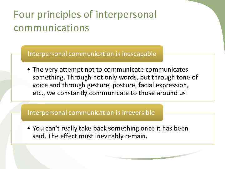Four principles of interpersonal communications Interpersonal communication is inescapable • The very attempt not