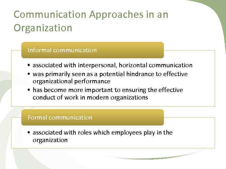 Communication Approaches in an Organization Informal communication • associated with interpersonal, horizontal communication •