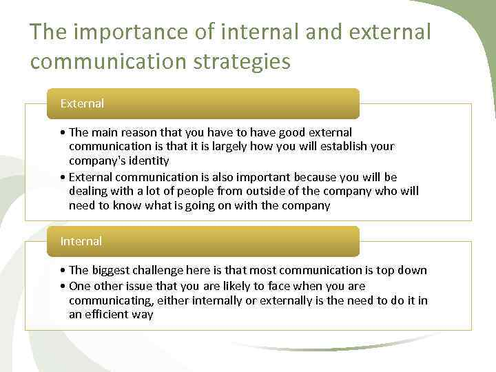 The importance of internal and external communication strategies External • The main reason that