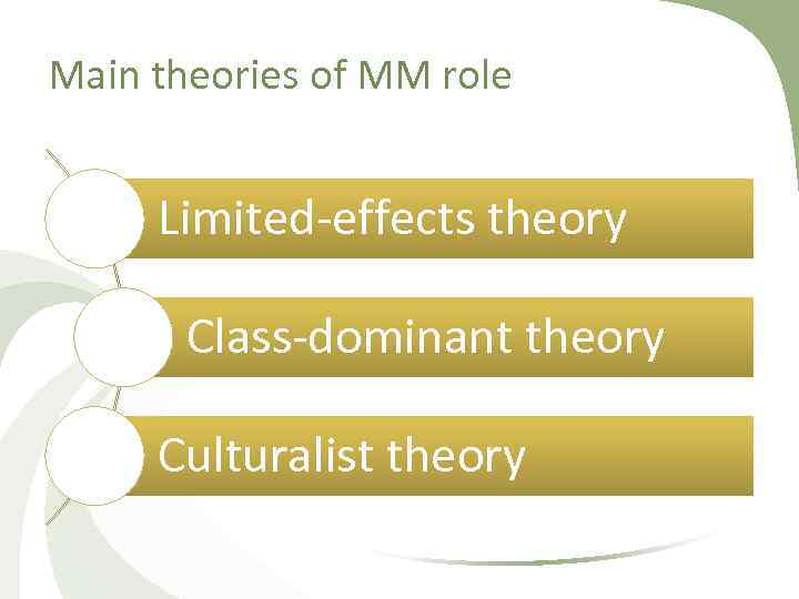 Main theories of MM role Limited effects theory Class dominant theory Culturalist theory